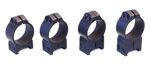 Warne 30mm Fixed Rings Black - All Heights to Fit 30mm Tube