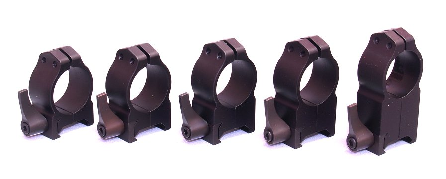Warne Quick Detach Rings Black - All QD Heights to Fit 1