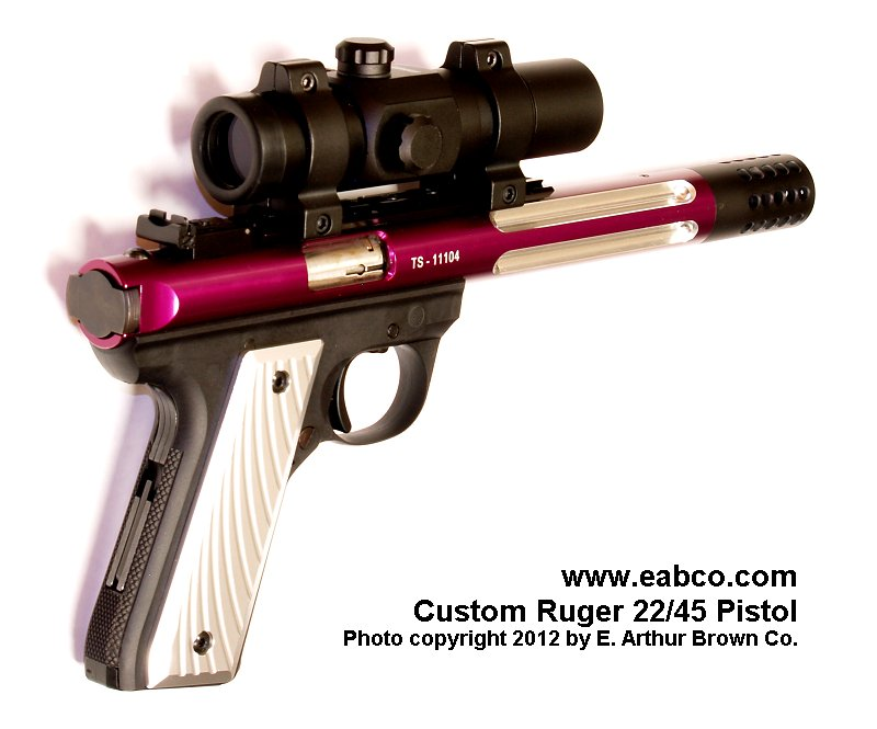 Diagonal Lined Aluminum Grips for the Ruger 22/45 by Volquartsen