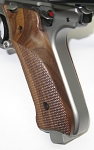 Walnut Thumb Rest Target Grips, Checkered, for Ruger Mark IV
