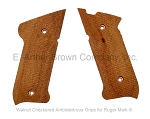 Ruger Mark III Grips, Walnut, Checkered, Ambidextrous by Majestic Arms
