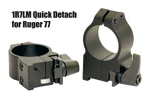 "Warne QD Rings for Ruger - Quik Detach 1"" and 30mm"