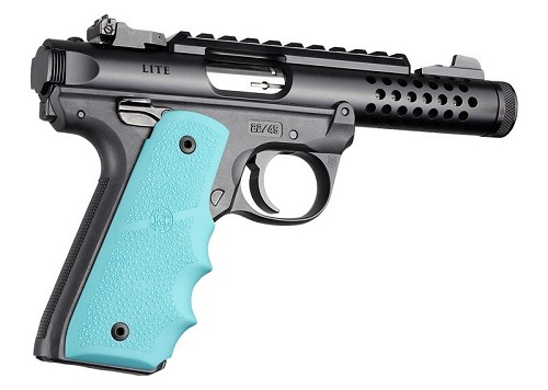 Hogue 79084 Rubber Grip w/Finger Grooves Fits Ruger MKIV 22/45 Aqua