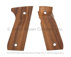 Ruger Mark III 22/45 Grips, Walnut Thumb Rest Checkered, by Majestic Arms