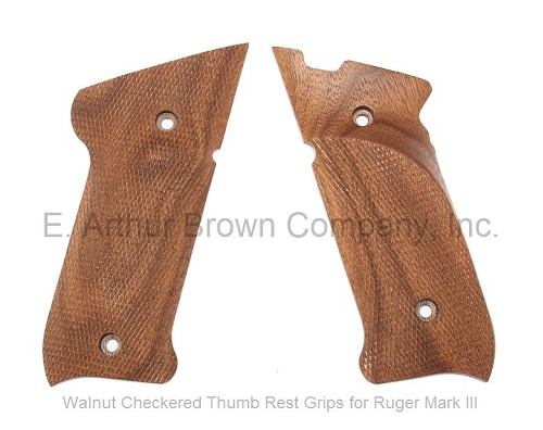 Ruger Mark III Grips, Walnut Thumb Rest Checkered, by Majestic Arms