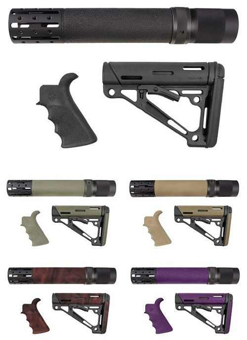 Hogue AR-15 3-Piece Kits - Grip, Collapsible Buttstock, and Hand Guard w/Accessories