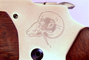 Etch Engrave Receiver Side with Rams Head