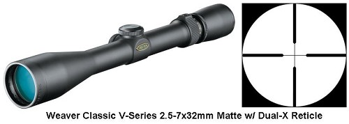 Weaver Classic V-Series 2.5-7x32mm Riflescope Matte Dual-X